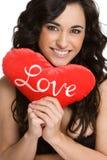 Mujer del amor de las tarjetas del día de San Valentín Imagen de archivo
