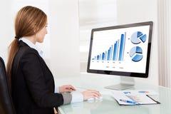 Mujer del analista del negocio que trabaja en el ordenador Imagen de archivo libre de regalías