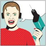 Mujer del arte pop con el taladro Foto de archivo libre de regalías