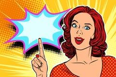Mujer del arte pop que destaca el finger libre illustration