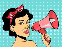 Mujer del arte pop que habla usando el megáfono rojo libre illustration