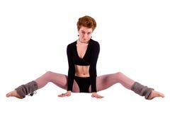 Mujer del bailarín en el piso Imagenes de archivo
