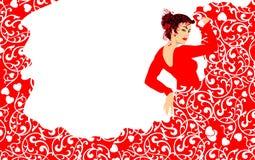 Mujer del baile del flamenco stock de ilustración