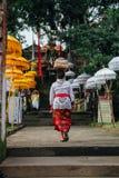 Mujer del Balinese que lleva la caja ceremonial con ofrendas en su cabeza, Ubud Foto de archivo libre de regalías