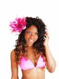 Mujer del bikini con la flor Imágenes de archivo libres de regalías
