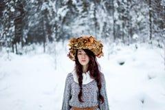 Mujer del bosque con las hojas de otoño en el invierno blanco de la nieve Imágenes de archivo libres de regalías