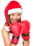 Mujer del boxeo de la aptitud de la Navidad Fotografía de archivo libre de regalías