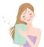 Mujer del cabello seco de la toalla Foto de archivo libre de regalías