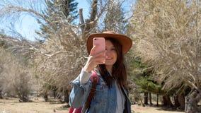 Mujer del caminante que toma el smartphone de la foto que fotografía el fondo escénico 20s 4k de la naturaleza del paisaje metrajes