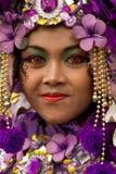 Mujer del carnaval de Malang, Indonesia imagen de archivo