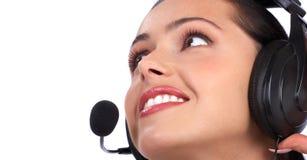 Mujer del centro de atención telefónica Imagenes de archivo