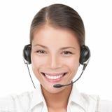Mujer del centro de atención telefónica con el receptor de cabeza imagen de archivo