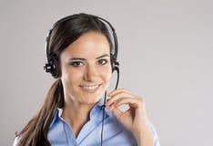 Mujer del centro de atención telefónica Foto de archivo libre de regalías