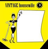 Mujer del clip art del vintage de los Doodles que aljofifa los iconos de /advertising, backg Foto de archivo libre de regalías