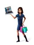 Mujer del comprador del Internet Fotografía de archivo libre de regalías