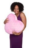 Mujer del corazón de las tarjetas del día de San Valentín fotos de archivo libres de regalías