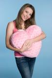 Mujer del corazón de las tarjetas del día de San Valentín Fotografía de archivo