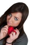 Mujer del corazón del día de tarjetas del día de San Valentín Fotos de archivo libres de regalías