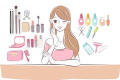 Mujer del cuidado de piel de la historieta de la belleza ilustración del vector