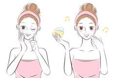Mujer del cuidado de piel de la historieta de la belleza libre illustration