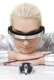 Mujer del Cyber con el ratón del ordenador imagen de archivo libre de regalías