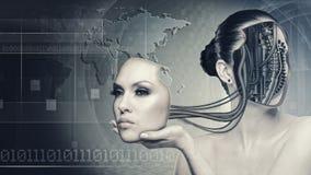 Mujer del Cyborg Imágenes de archivo libres de regalías