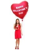 Mujer del día de tarjetas del día de San Valentín Fotos de archivo