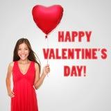 Mujer del día de tarjetas del día de San Valentín Imágenes de archivo libres de regalías