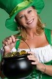 Mujer del día del St Patrick Fotografía de archivo