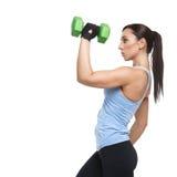 Mujer del deporte con pesas de gimnasia Imágenes de archivo libres de regalías