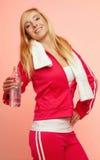 Mujer del deporte de la aptitud con la botella de agua Fotografía de archivo