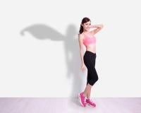 Mujer del deporte del super héroe Fotografía de archivo
