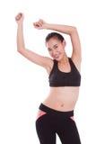Mujer del deporte en ejercicio de los aeróbicos de la posición Fotos de archivo
