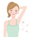 Mujer del desodorante de la axila Imagen de archivo libre de regalías