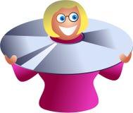 Mujer del disco compacto ilustración del vector