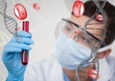 Mujer del doctor que obra recíprocamente con el filamento de la DNA 3D Foto de archivo