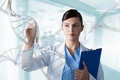 Mujer del doctor que obra recíprocamente con los filamentos de la DNA 3D Fotografía de archivo libre de regalías