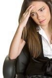 Mujer del dolor de cabeza Imagenes de archivo
