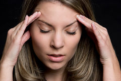 Mujer del dolor de cabeza fotografía de archivo libre de regalías