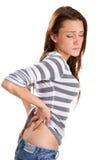 Mujer del dolor de espalda Fotos de archivo libres de regalías