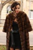 Mujer del encanto con el pelo oscuro que lleva el abrigo de pieles lujoso foto de archivo libre de regalías