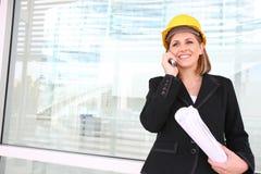 Mujer del encargado de la construcción imagenes de archivo