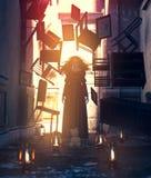 Mujer del fantasma en vestido negro con las cosas que flotan en casa encantada fotografía de archivo