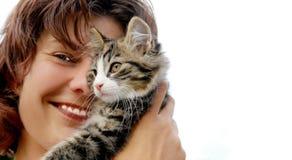 Mujer del gato Foto de archivo