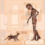 Mujer del gato Fotos de archivo