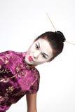 Mujer del geisha pescada con caña Fotos de archivo libres de regalías