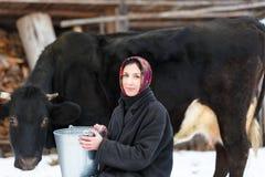 Mujer del granjero que ordeña una vaca en yarda del invierno Foto de archivo