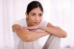 Mujer del indio de Thoughful Fotografía de archivo libre de regalías