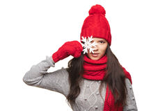 Mujer del invierno con el copo de nieve Fotos de archivo