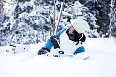 Mujer del invierno con el snowboard Imagen de archivo
